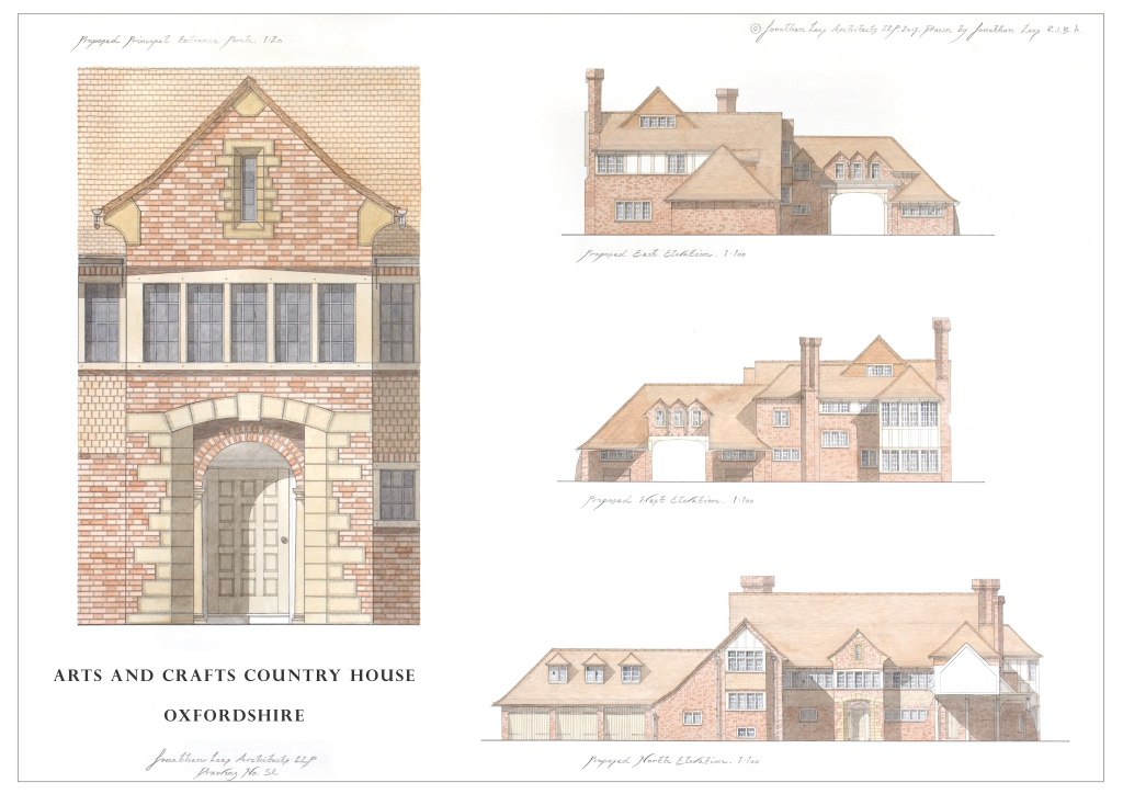 Watercolour design for Arts and Crafts Country House