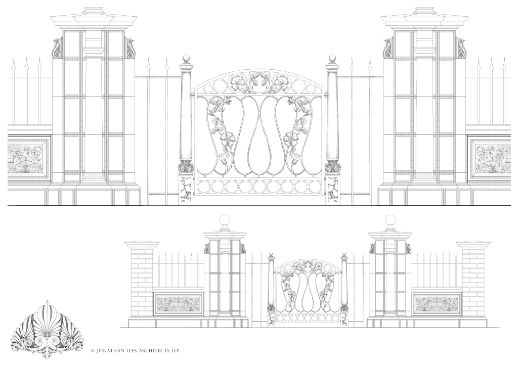 Design for garden entrance with stone piers