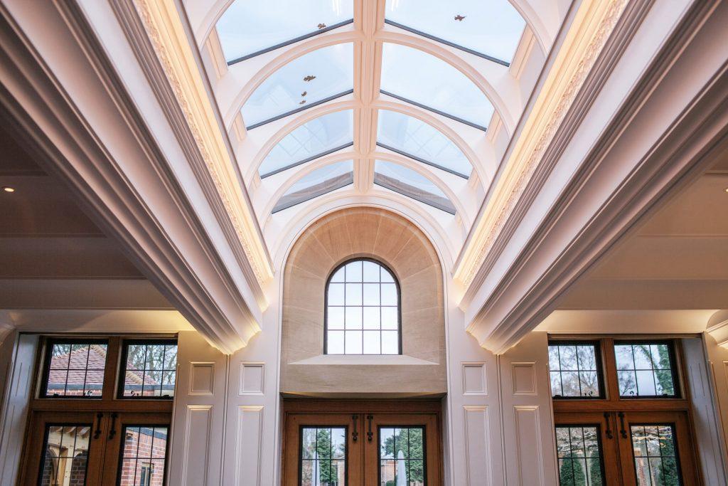 Glazed lantern roof light in classical orangery