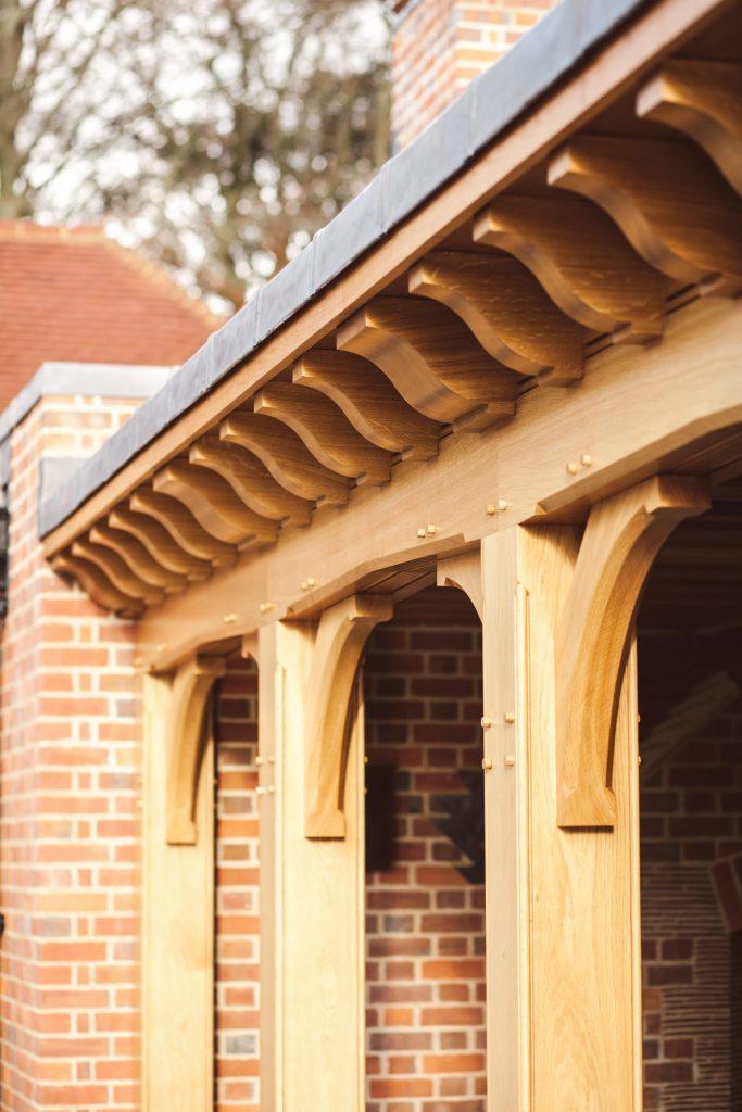 Oak frame covered garden loggia