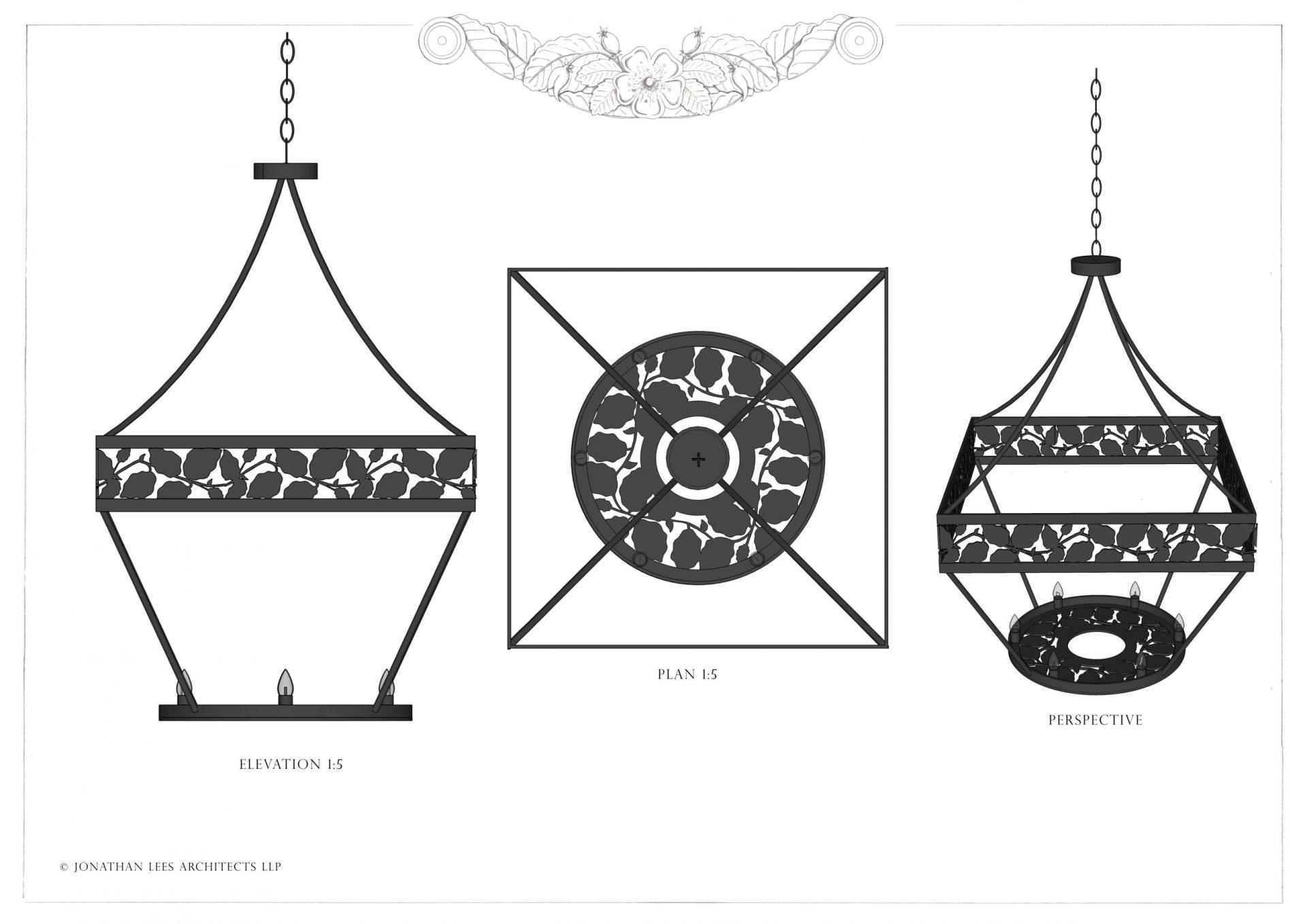 Unique metal pendant light for garden pavilion