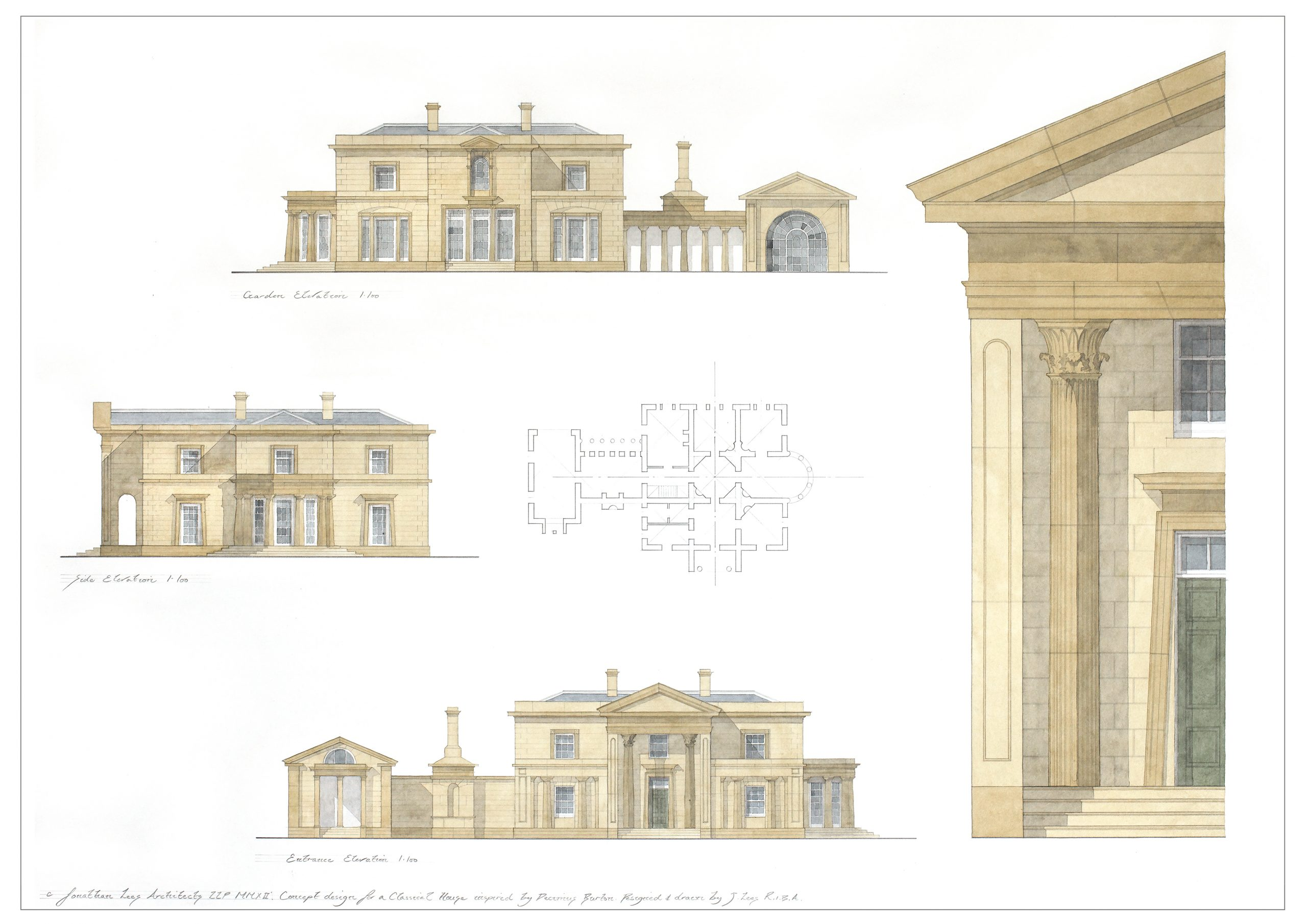 Classical house watercolour design with portico