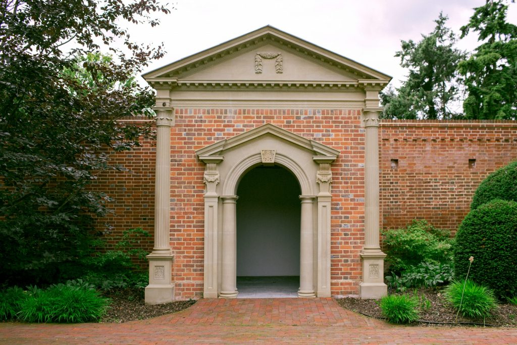 Classical garden folly building in estate grounds