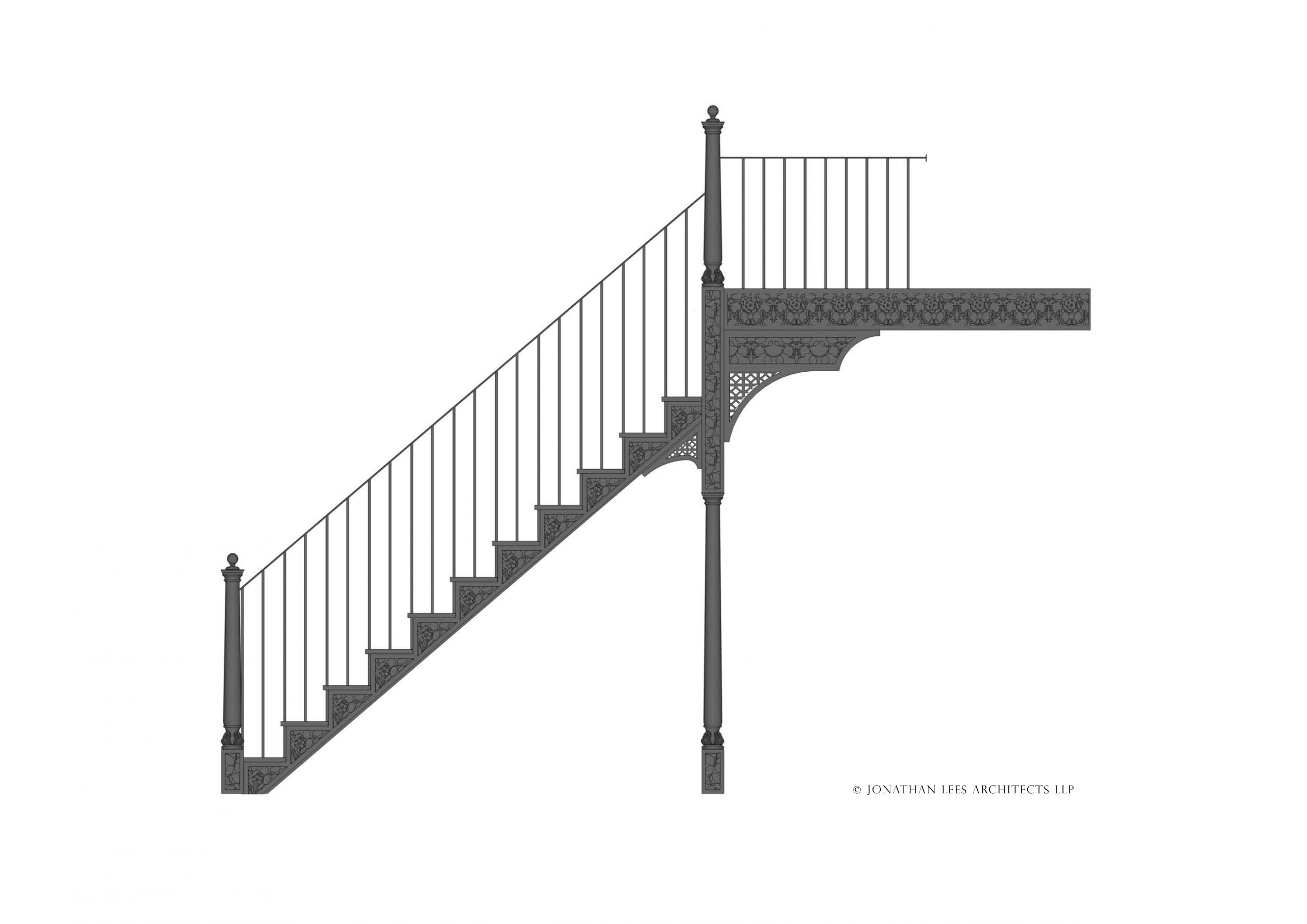 Decorative patterned metal staircase