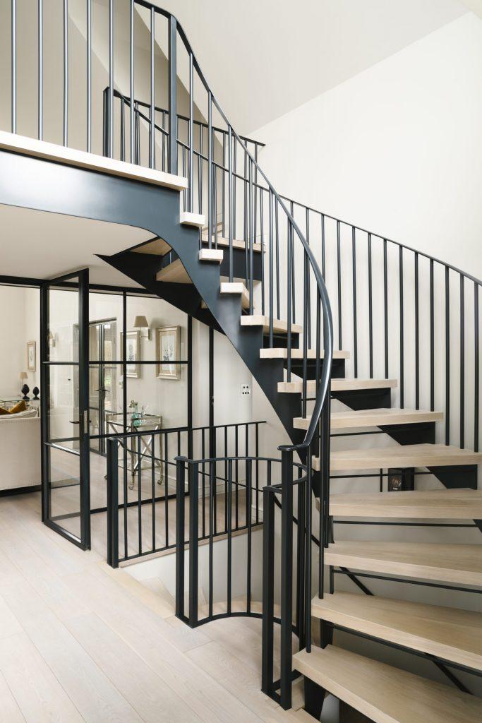 Contemporary black metal spiral staircase