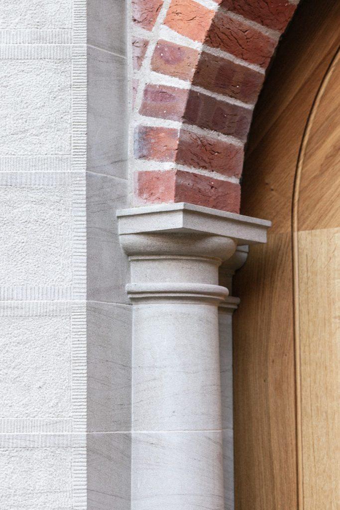 Stone Door Surround and Oak Door