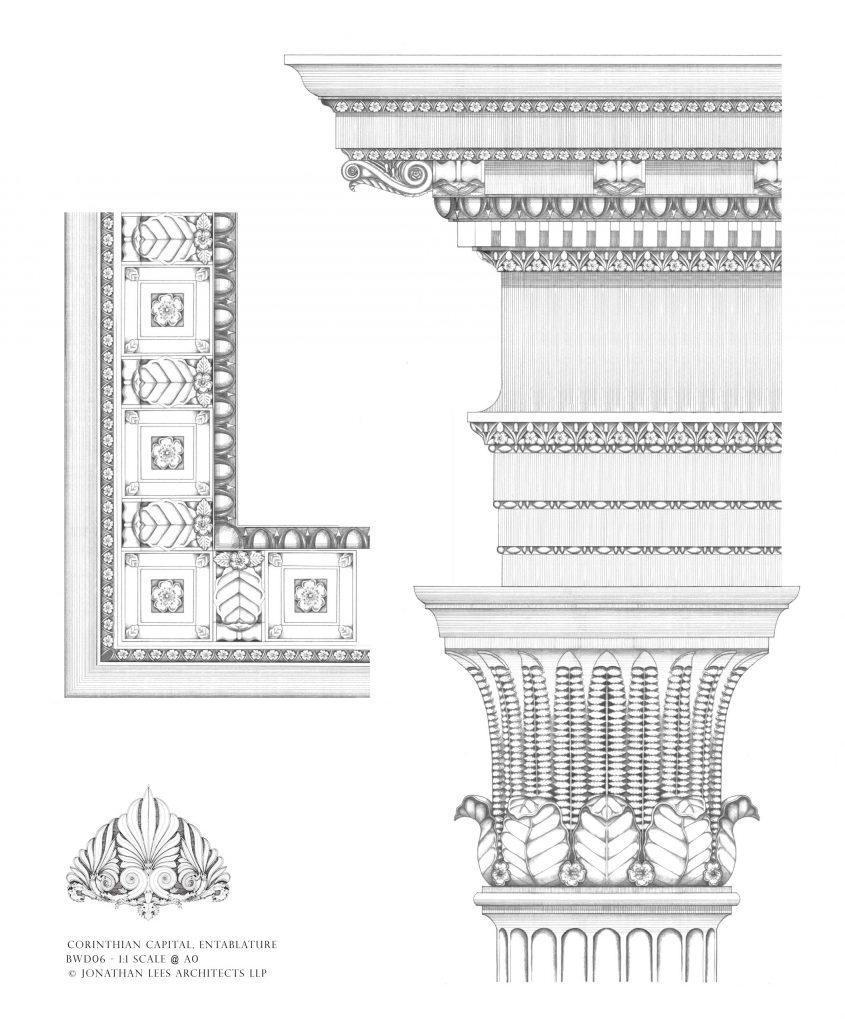 Ornate Classical order pencil design by Architect