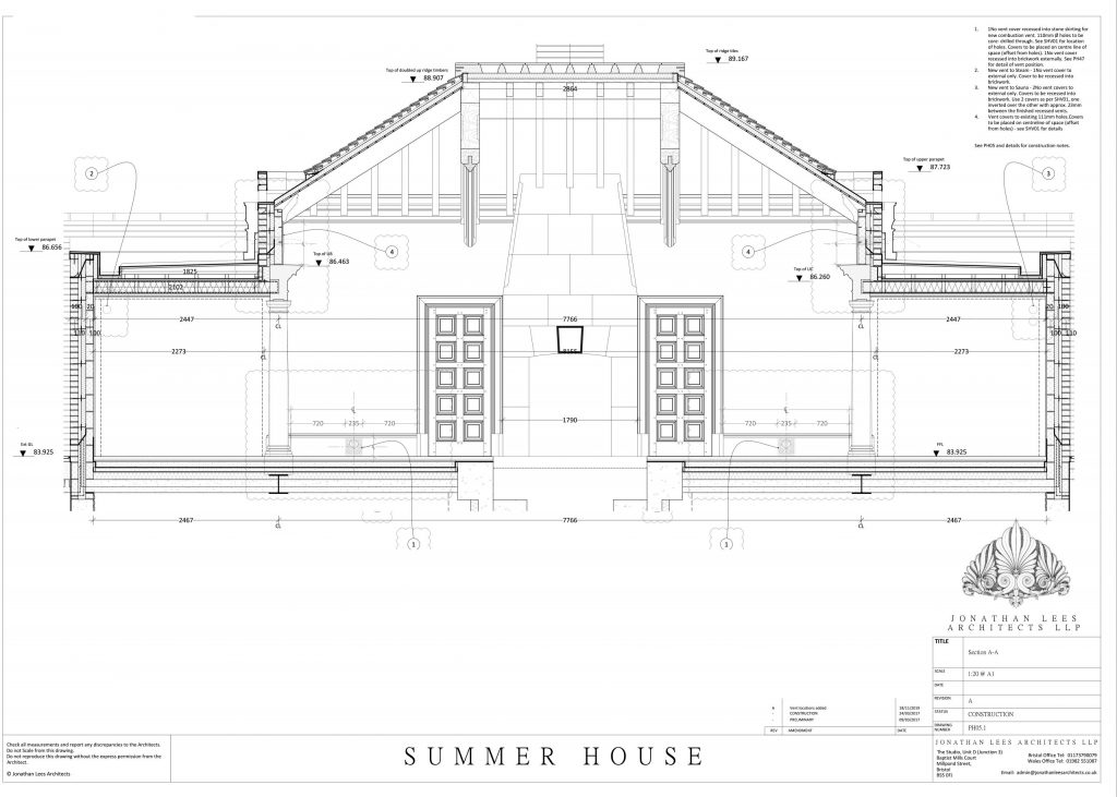 Section drawing through classical summerhouse and spa building