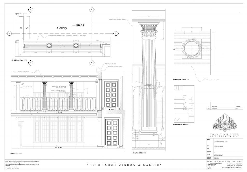 Classical Architect drawing of column and gallery