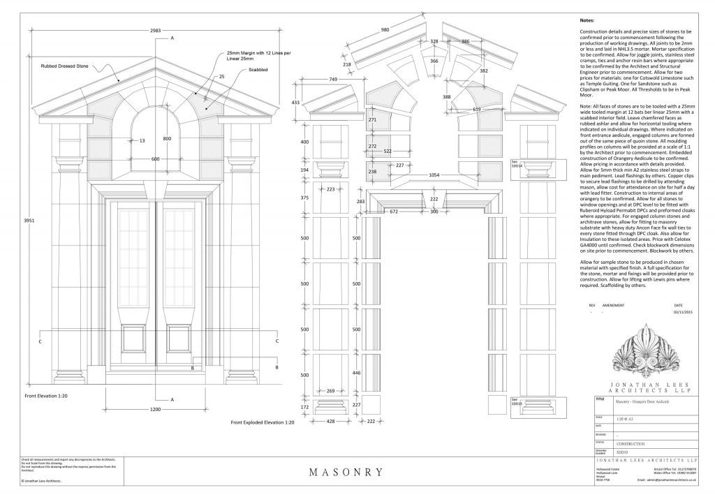Classical Architect drawing for orangery