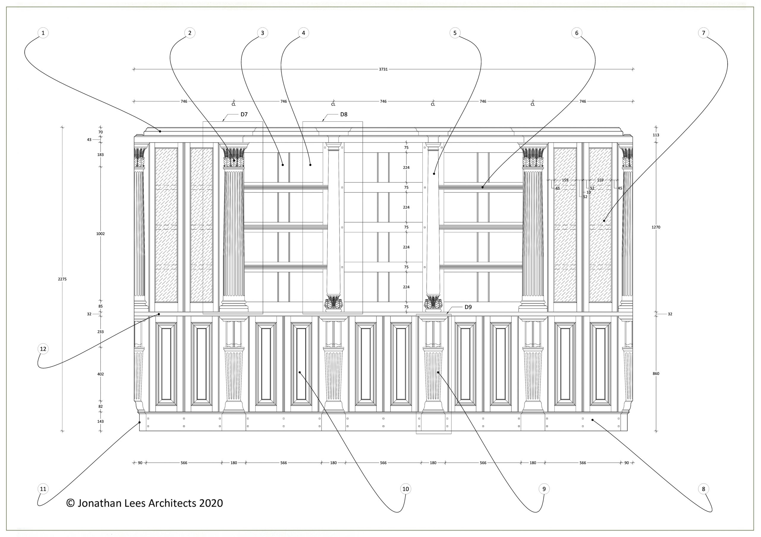 Technical Architect drawing for classical library