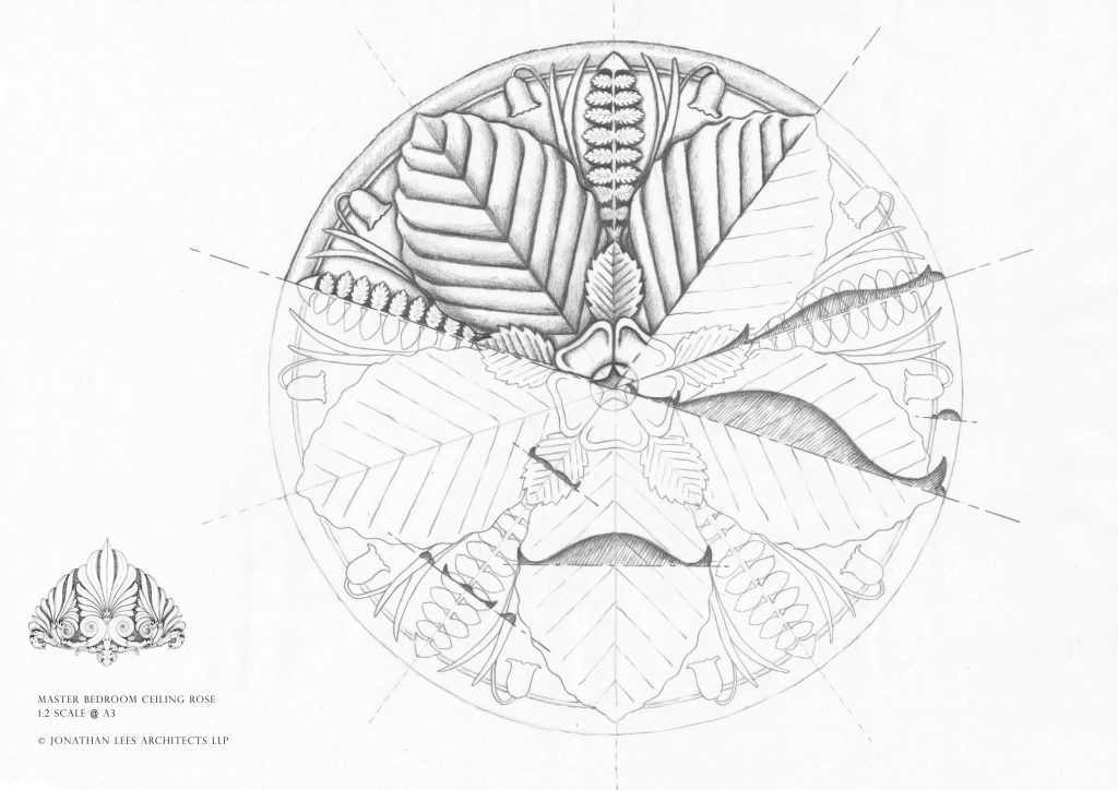 Bespoke Arts and Crafts ceiling rose drawing design