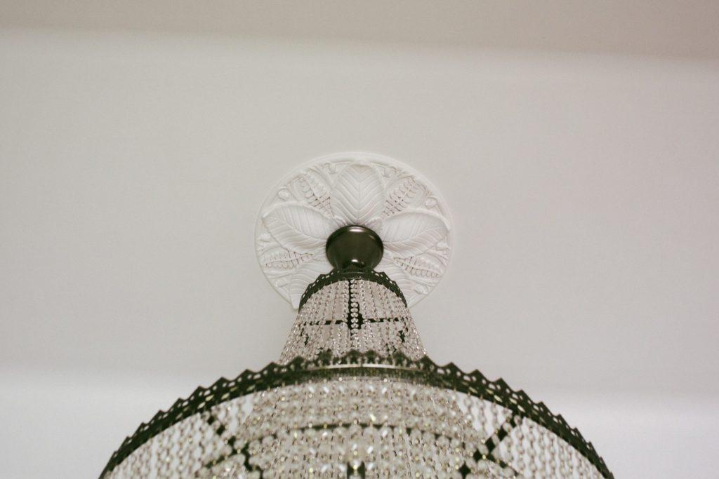 Plaster ceiling rose for chandelier