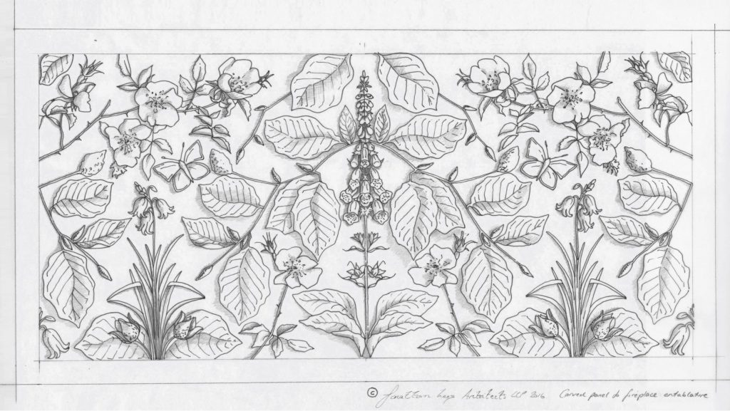 Intricate carved stone panel with leaves and flowers