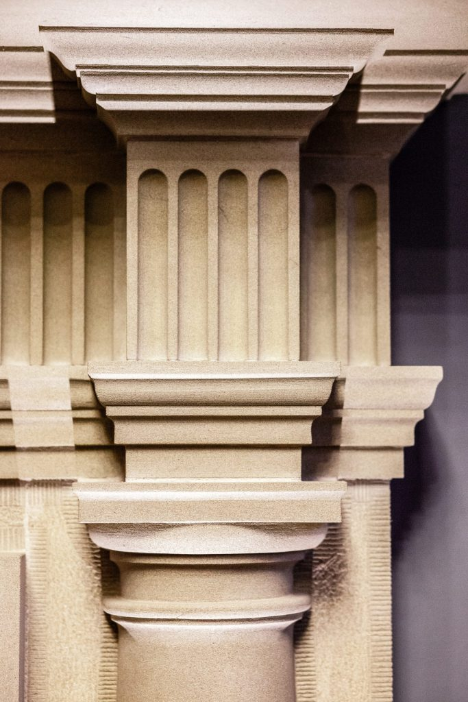 Classical stone mouldings on fireplace