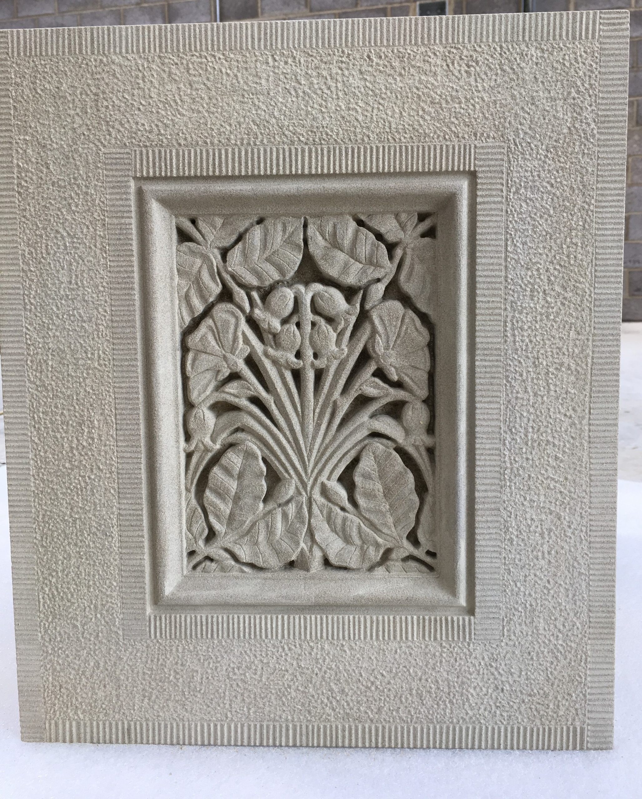 Intricate flowers stone carving