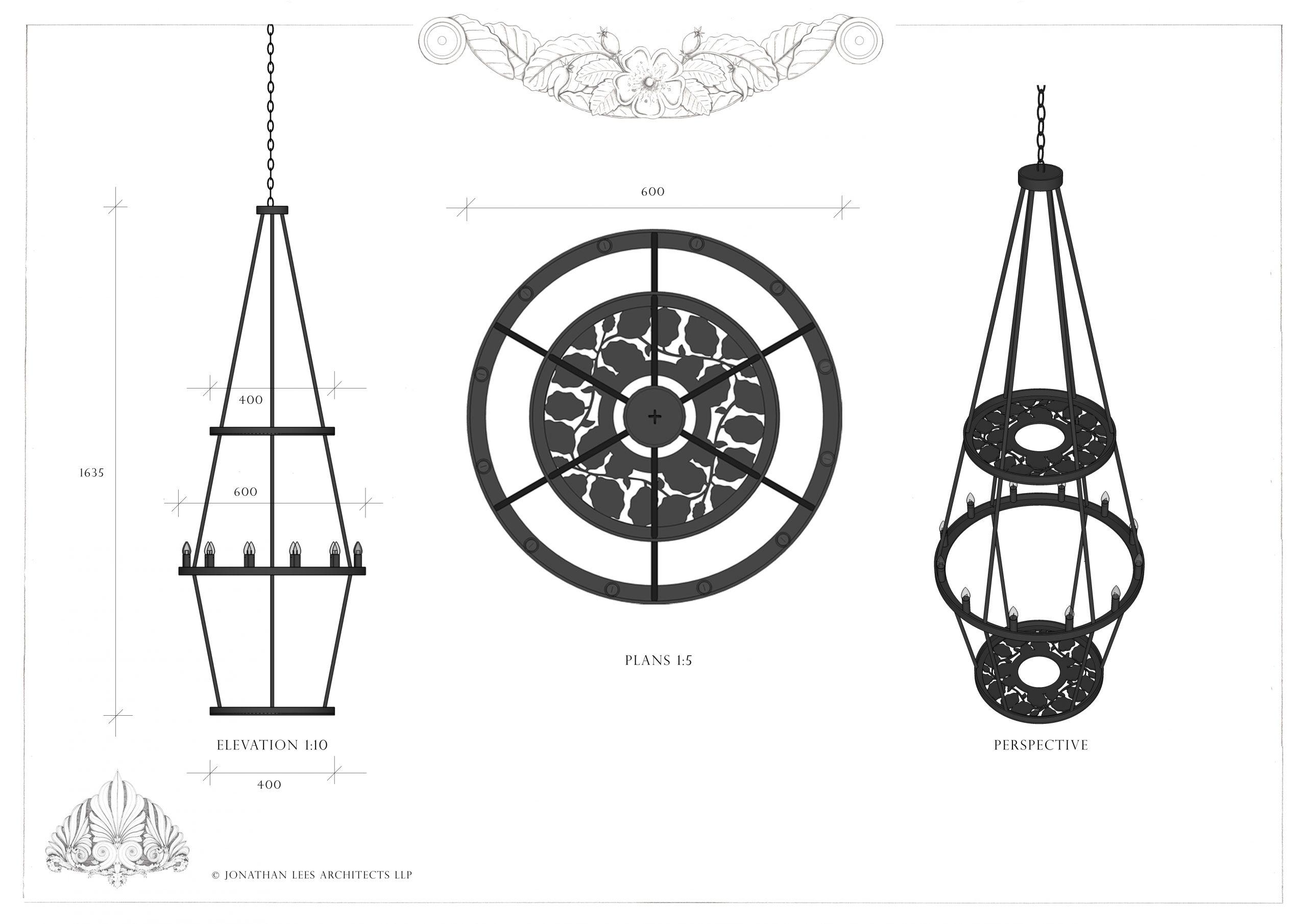 Ornate metal outdoor pendant light