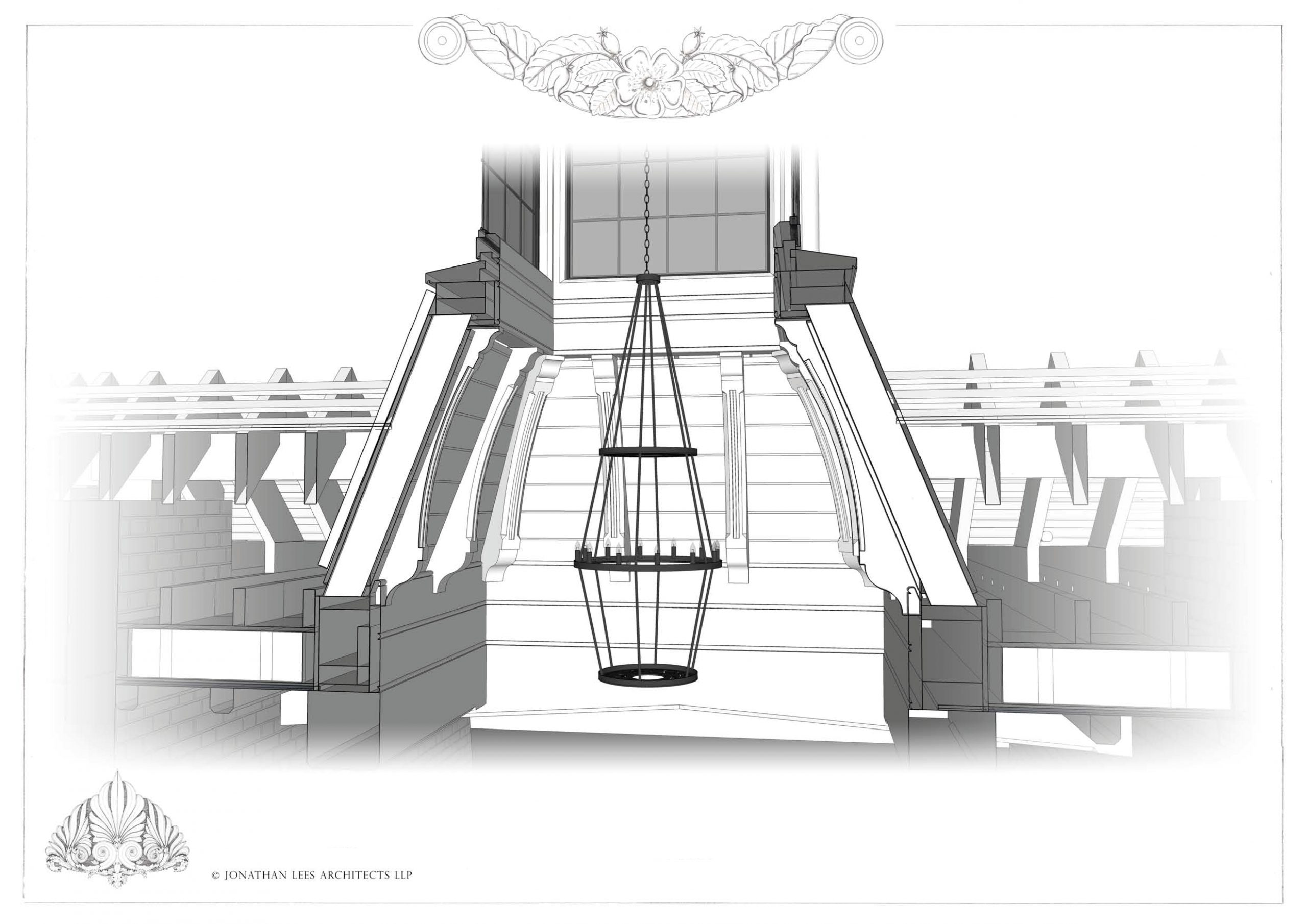 Design for tall roof light with exposed Oak