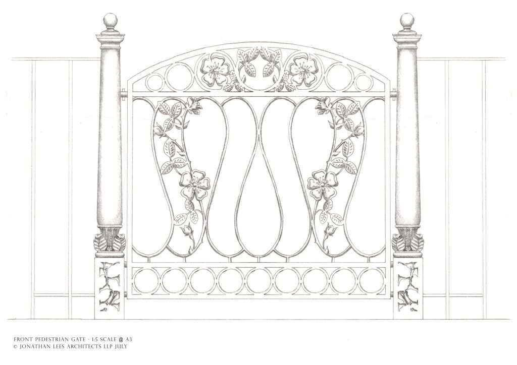 Ornate metal garden gate design with leaves