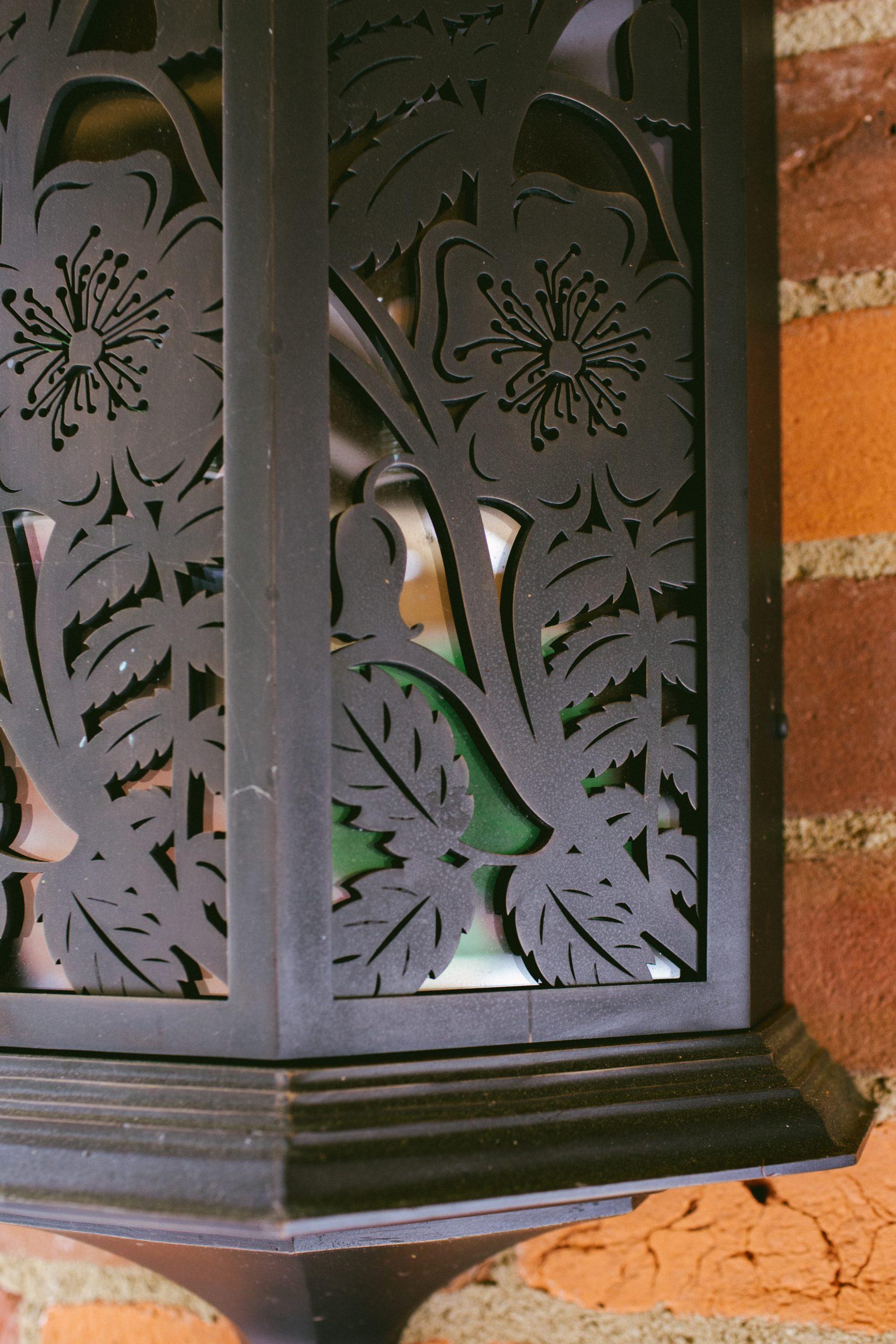 Ornate Bronze garden wall lantern
