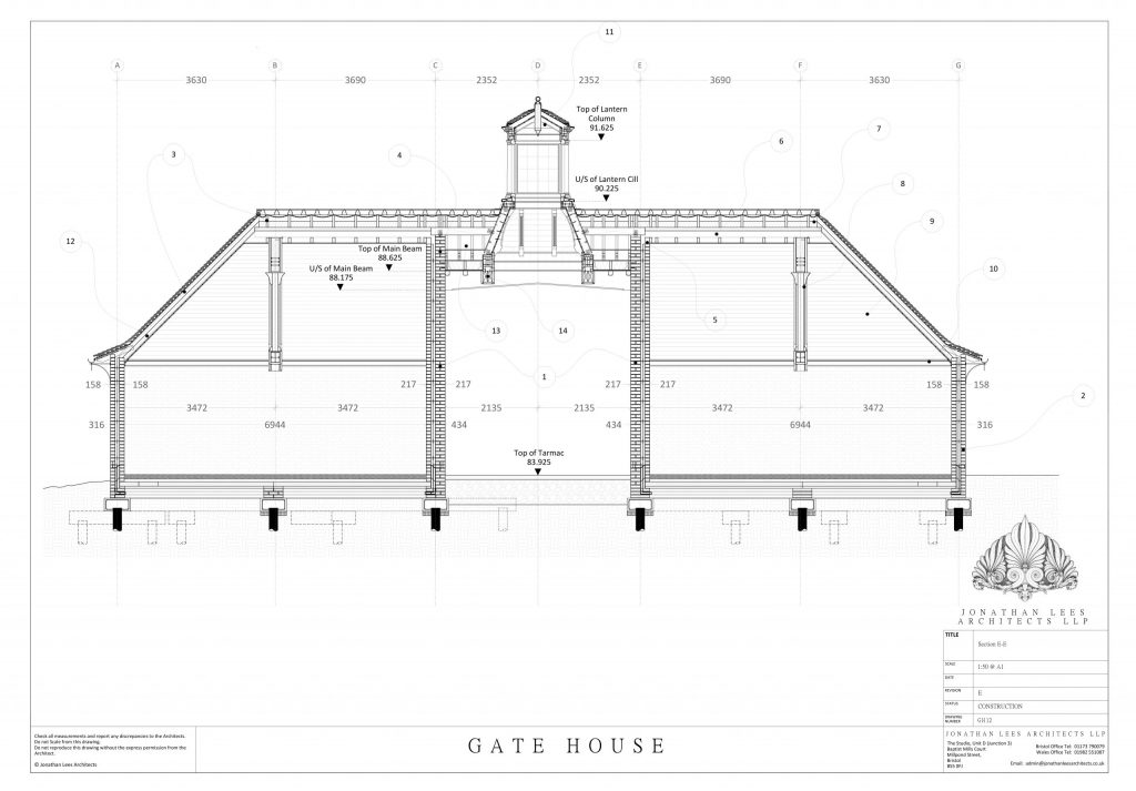 Drawing of Arts and Crafts car port with Oak lantern