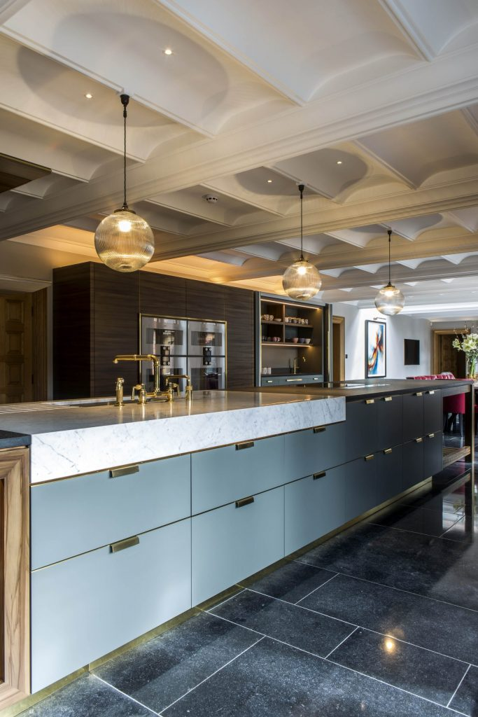 Marble and brass classic contemporary kitchen
