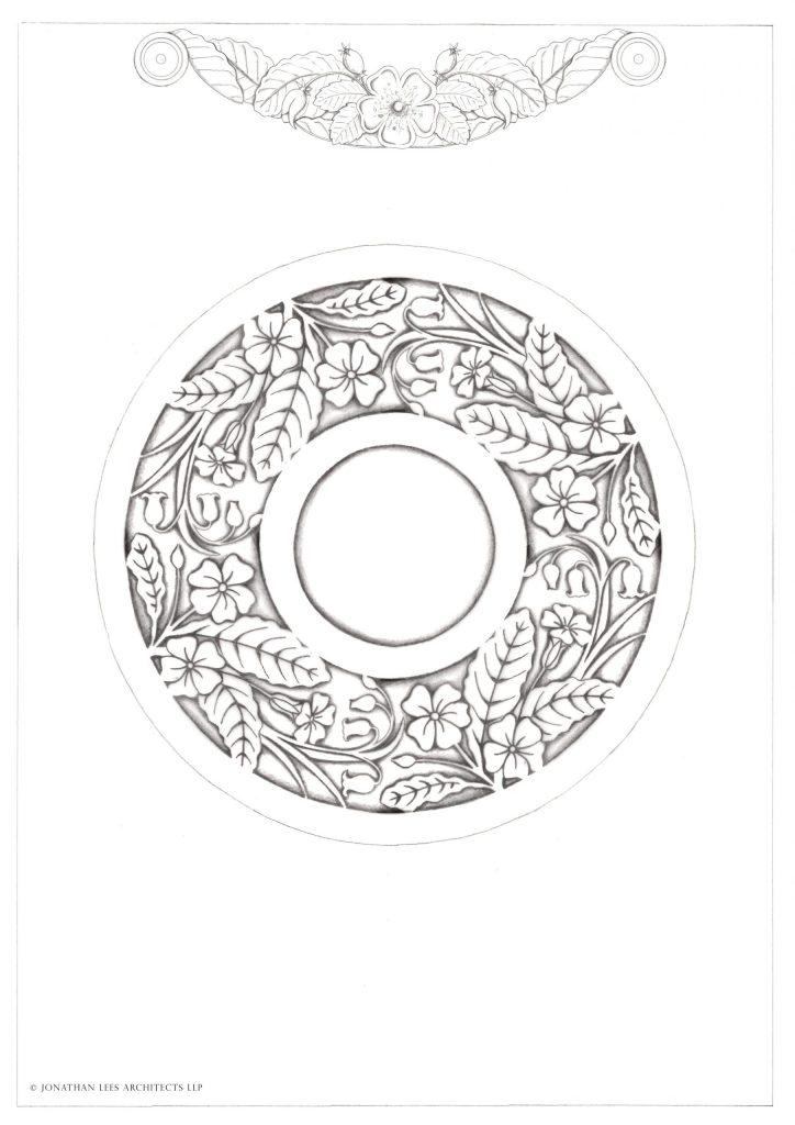Garden brass inlay design with primroses