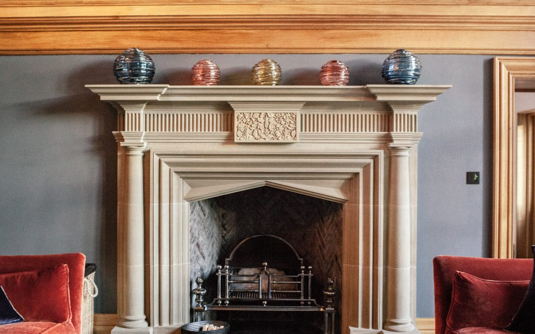 Central Stone Fireplace