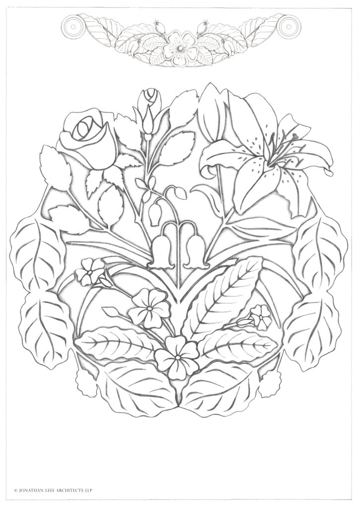 Brass inlay plate for courtyard with lilies, roses, bluebells and Primroses.