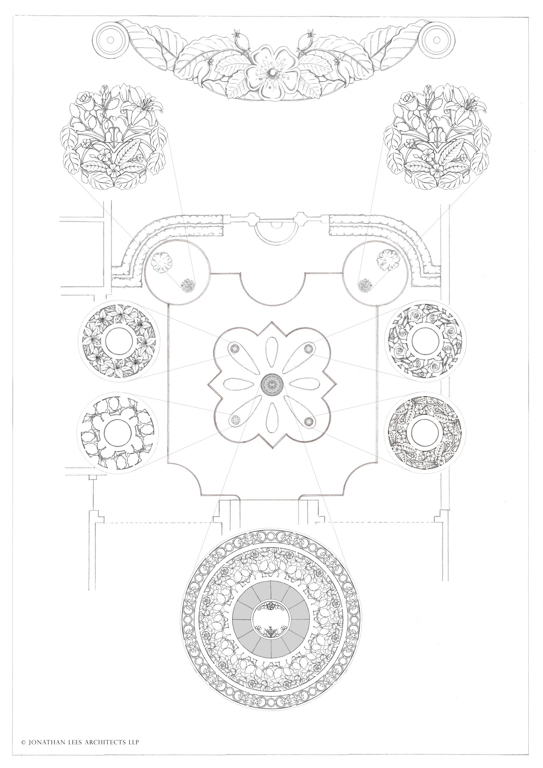Brass metal inlay design for driveway and courtyard