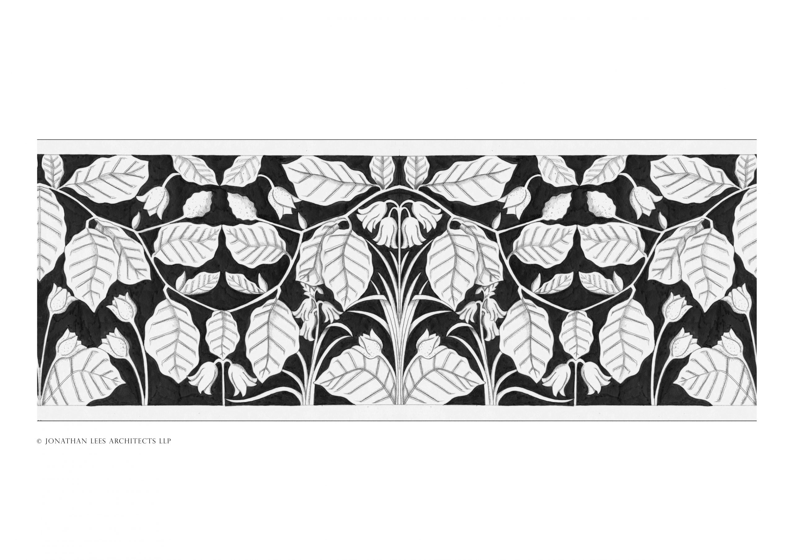 Heating vent cover design with beech leaves and bluebells