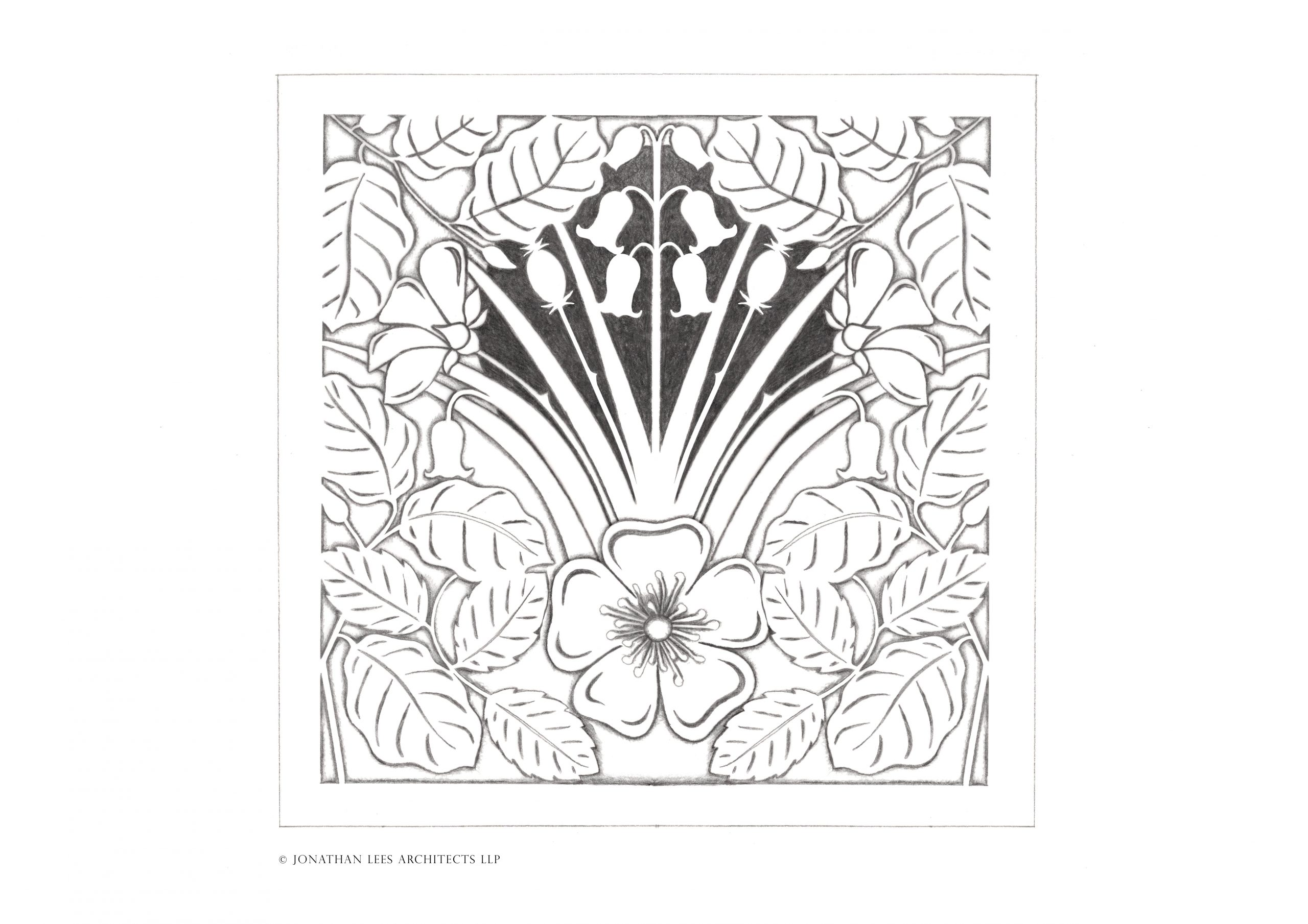Floral and leaf design drawing for metal vent cover