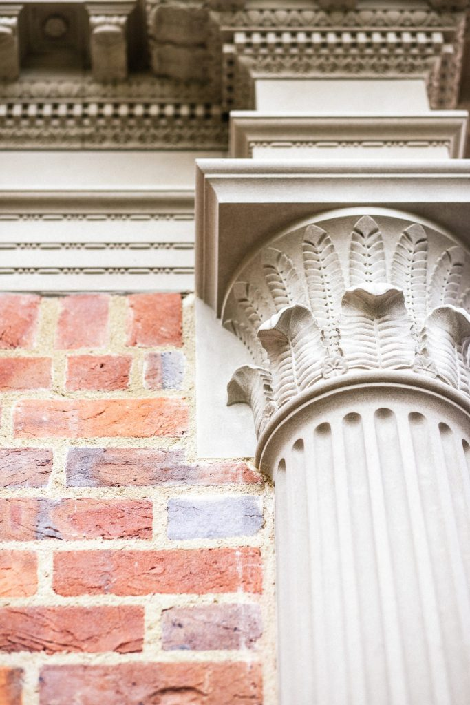 Detailed stone carving on new Classical building