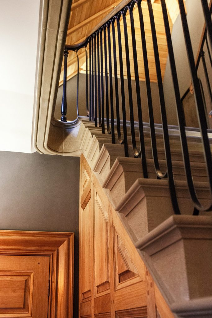 Classical stone staircase in English Manor House