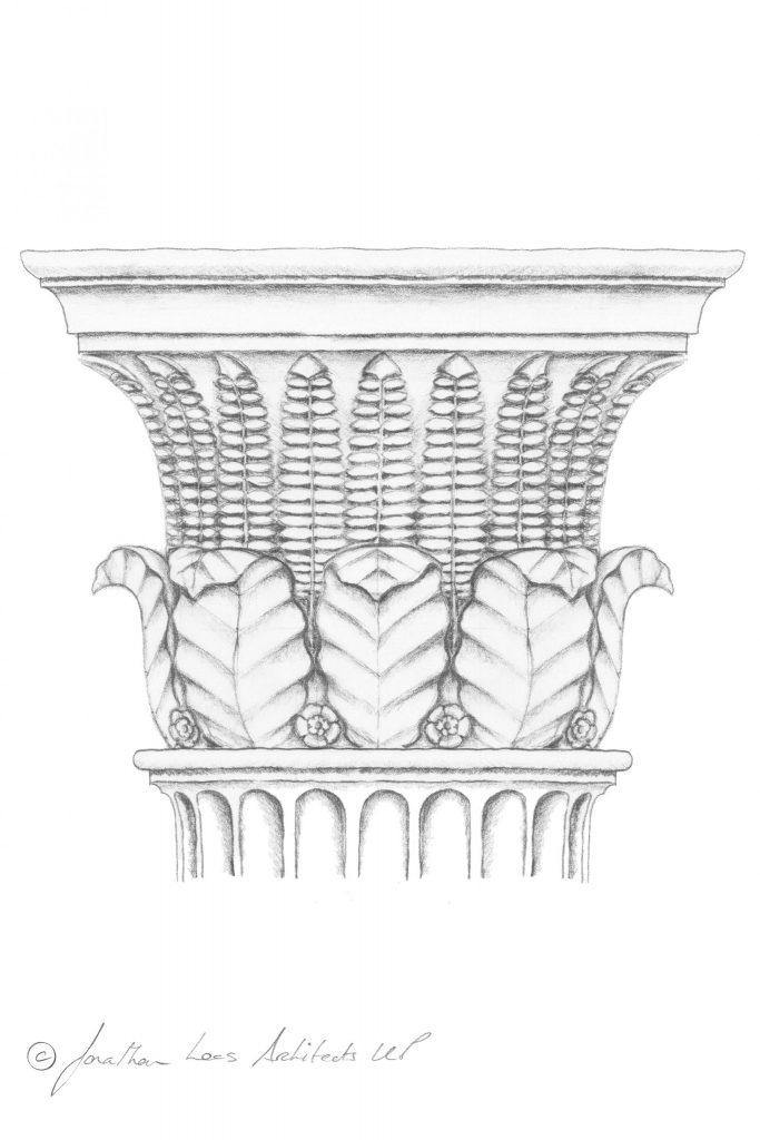 Classical architecture column design in Oak