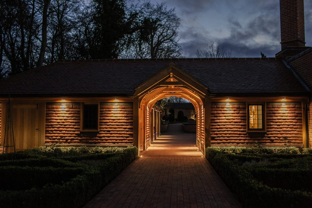 Feature Oak framed ceiling to garden building walkway
