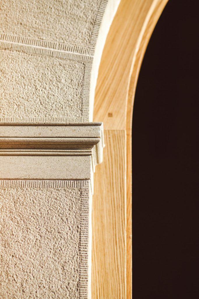 Classical stone and oak door