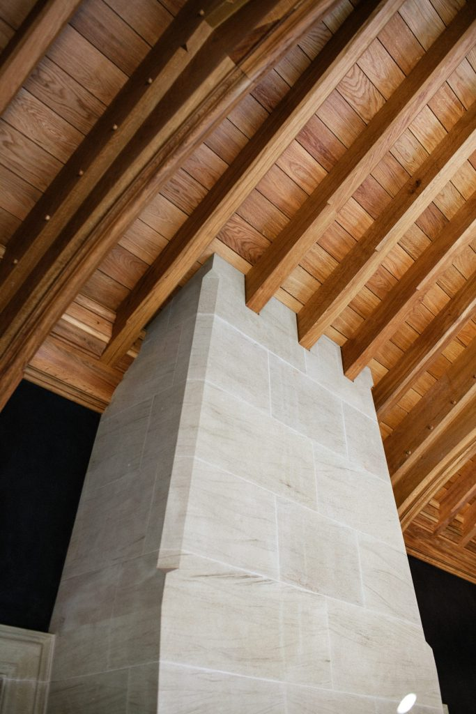 Monolith Stone Fireplace in Classical Garden Building