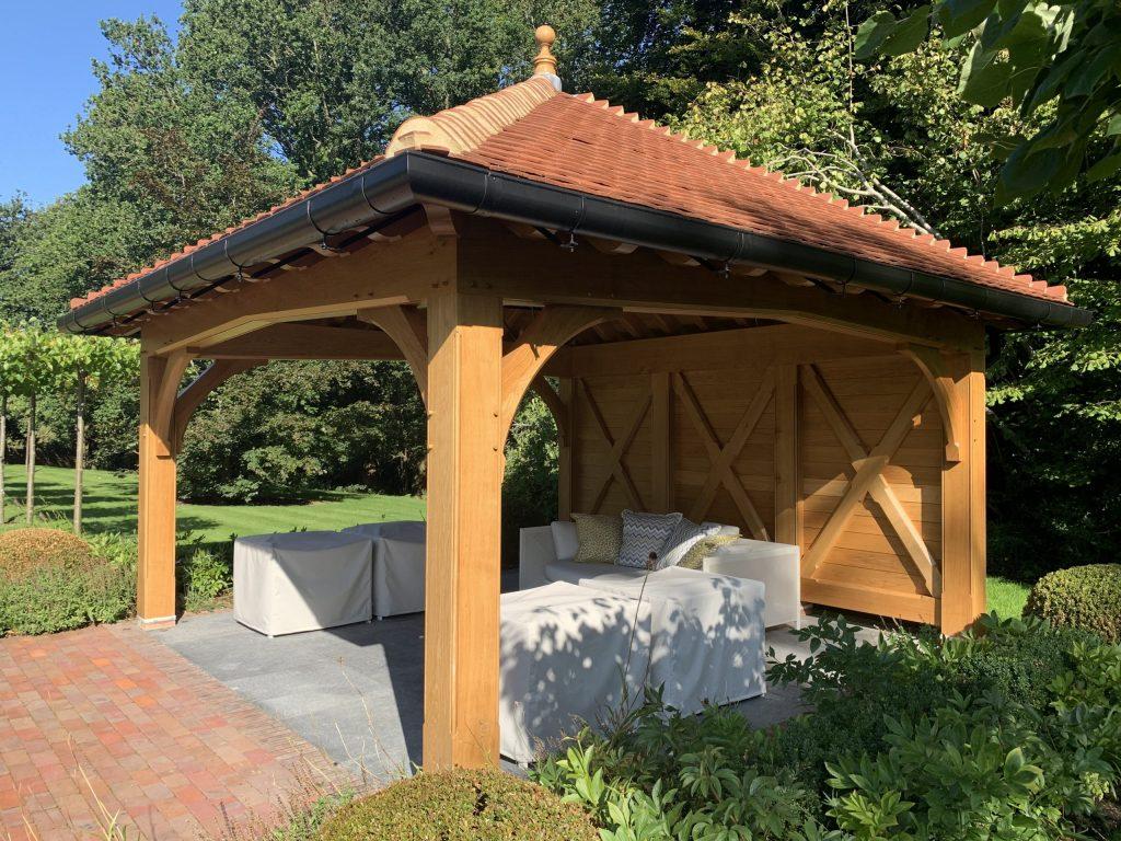 Covered garden pavilion building with Oak frame
