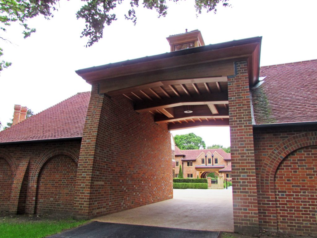 Unique brick entrance gateway to Arts and Crafts Country Estate