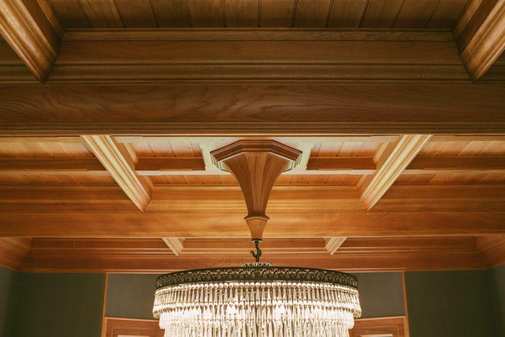 Joinery Oak ceiling boss for chandelier hook