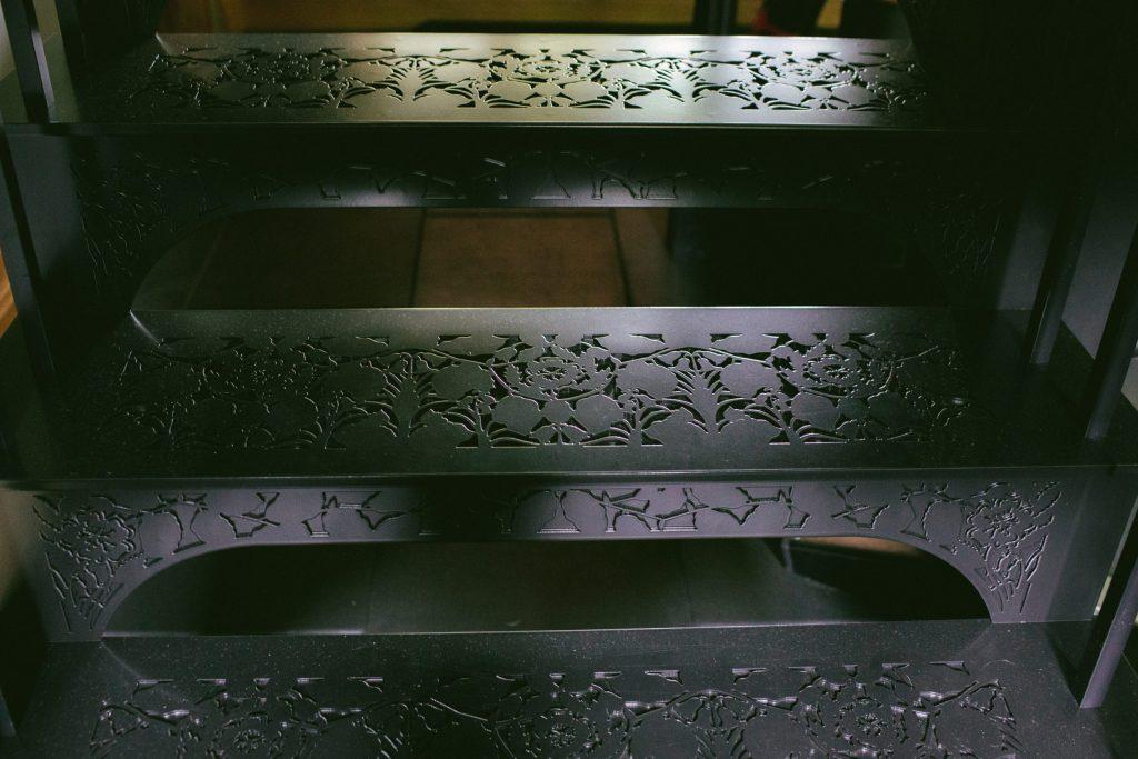 Pretty black metal staircase treads