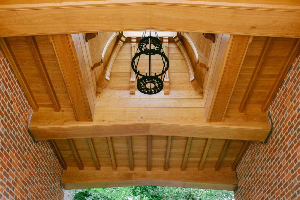 Exposed Oak beams in outdoor garden building
