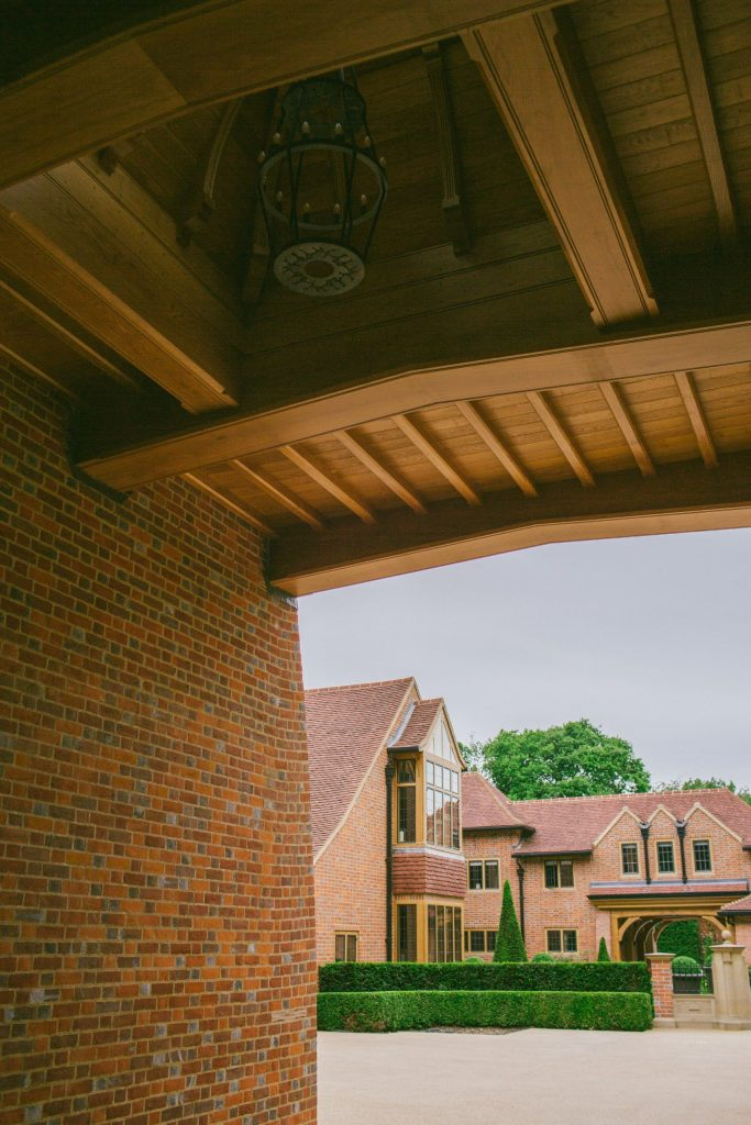 Feature Oak cupola ceiling with bespoke outdoor chandelier