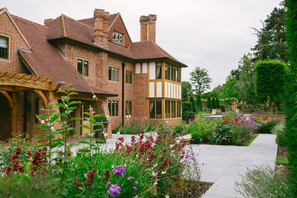 Renovated English country house and garden