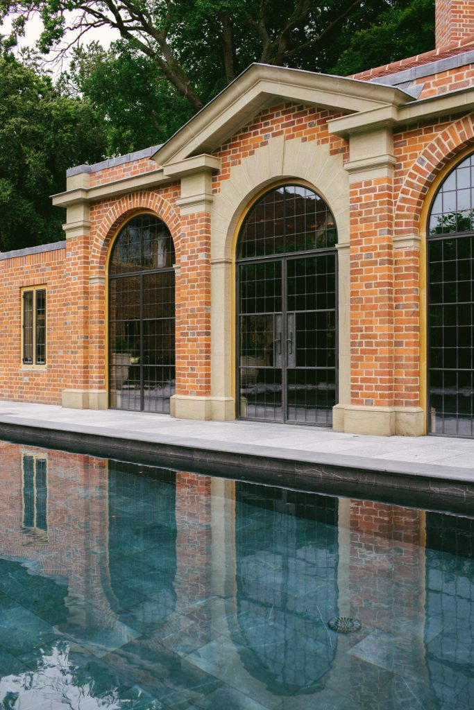 Classical new pool house and swimming pool