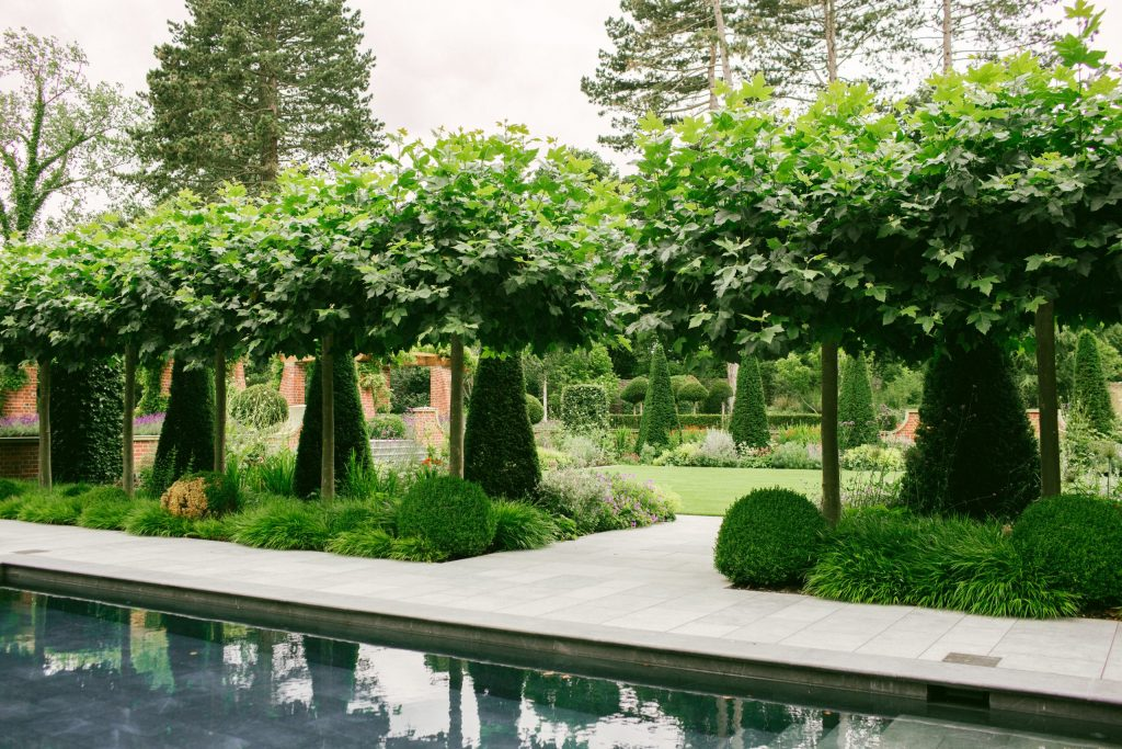 Formal garden design in country house estate
