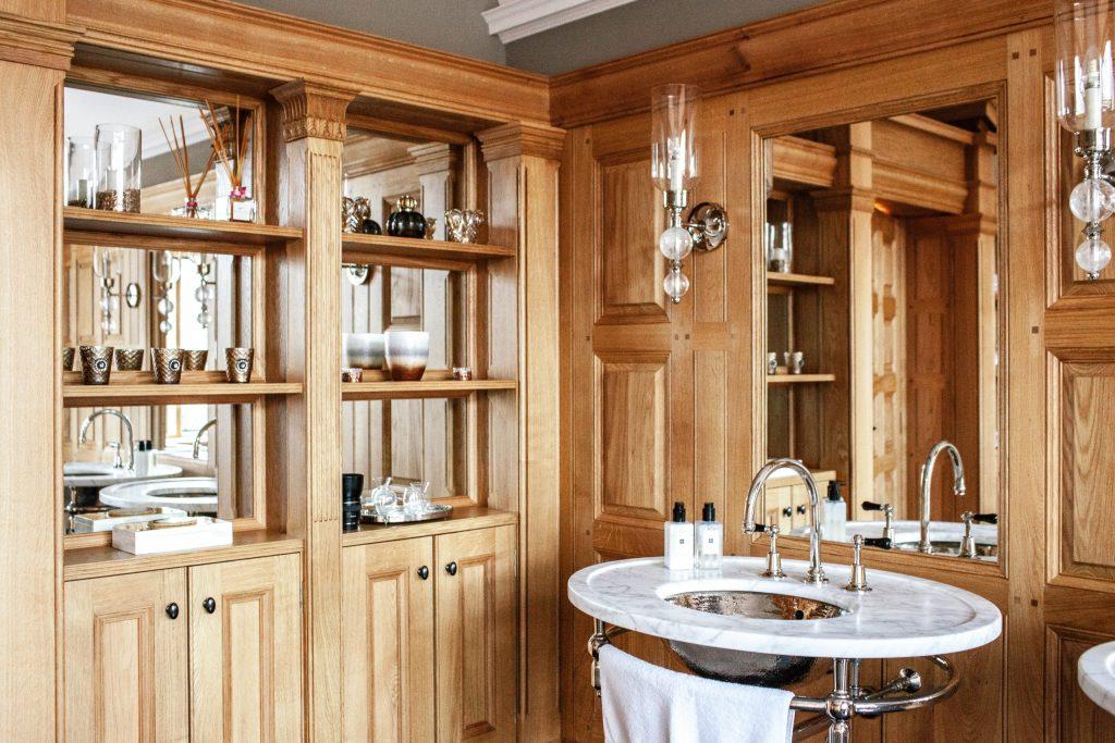Architect bespoke bathroom Oak panelling