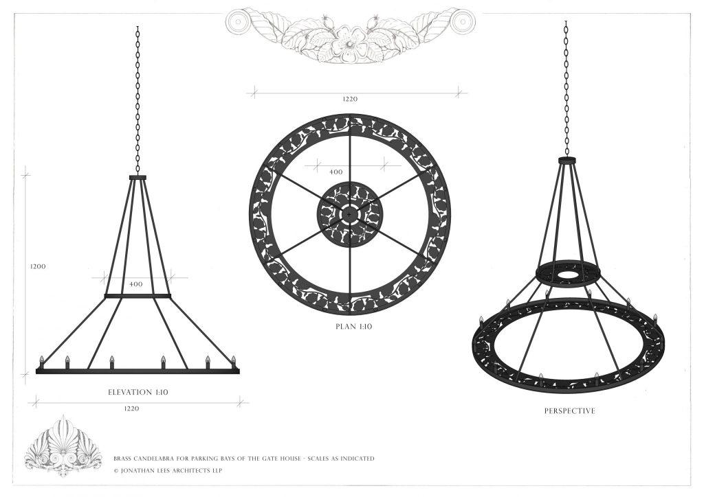 Metal chandelier for garden building