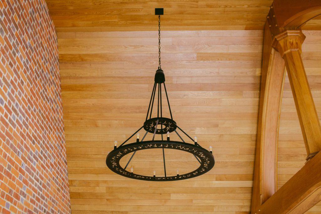 Bespoke large metal pendant light for Oak frame